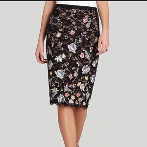 BCBGMaxAzria Irisa Black Lace & Floral Skirt